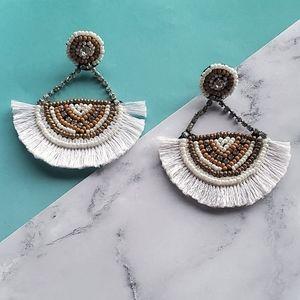 Jewelry - White beaded fan earrings